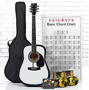 esteban white acoustic gift of guitar package 16 pc set w 5 dvds and accessories. Black Bedroom Furniture Sets. Home Design Ideas