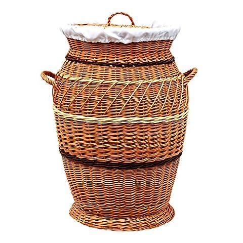 30-70 GalaDis runder Wäschekorb / Wäschesammler aus Weide geflochten (70 cm) mit herausnehmbarem Einsatz / Innensack und Deckel für die ganze Familie