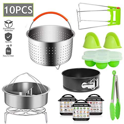 Benooa Zubehör für Instant Pot 10 PCS Schnellkochtopf Zubehör Set für Dampfkochtopf Dampfgarer Korb,Stapelbare Edelstahl Dampfgarer Einsatzpfannen,Energieklasse A +