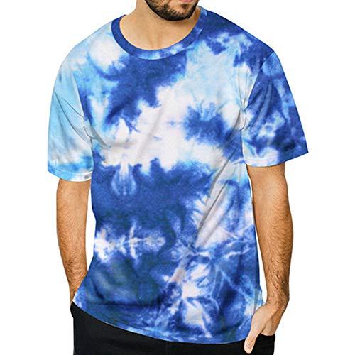 GIrisr Tall Tee Lang Geschnittenes Shirt Für Männer Bis Größe 5XL Große Blaue Aquarell Krawatte Gefärbt Individuelles T-Shirt,XXXL -