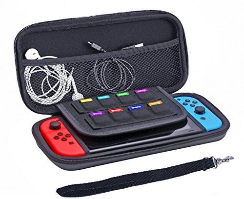 Preisvergleich Produktbild JZK® Anti Schock Nintendo Switch Hülle mit 8 Spielkarten Taschen, Tragbar Switch Case Tasche Schutzhülle mit Reißverschluss und einer Netz Tasche, schwarz (Silikon Hülle)