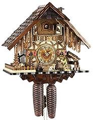 Idea Regalo - Orologio a cucù originale della foresta nera, in vero legno, meccanismo a 8 giorni, certificato VDS, Eble, casa della foresta nera, 35 cm, 22293
