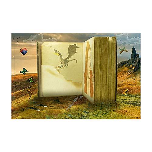 JoneAJ Tappeti da bagno del drago medievale fantasy Libro antico di fiabe nel deserto con farfalla per ragazza teenager Tappetino doccia 15.7x23.6in Zerbino Oggettistica per la casa