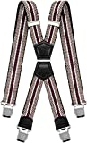 Decalen Mens Braces X Style Very Strong Clips Adjustable One Size Fits All Heavy Duty (Beige Maroon)