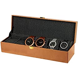 6-Slot PU Leather Designer Watch Case Decorative Organizer Box-Choose Colour