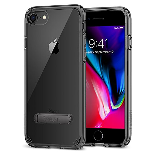 iPhone 8 / 7 Hülle, Spigen® [Ultra Hybrid S] iPhone 8 Hülle, Integrierter Kickstand [Crystal Clear] Luftpolster-Technologie / Durchsichtige Rückschale und TPU-Bumper Schutzhülle für Apple iPhone 7 Hül UHS Diamant Schwarz