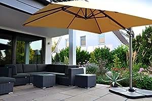 Zangenberg Ampelschirm Sonnenschirm Monaco 300x300 cm taupe braun/grau