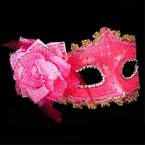 r Make-up Tanz Show Gemalte Federn Halbes Gesicht Schöne Prinzessin Masken,Rose Red (Red Skull Halloween-make-up)