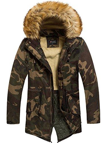 OZONEE Herren Winterjacke Parka Jacke Kapuzenjacke Wärmejacke Wintermantel Coat GH1602 NATURE 4984 HELL-CAMO XL (Camo Kapuzenjacke)