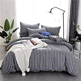 Fostudork Abstractism Bed Linen 3/4pcs Bedding Set Geometric Stripe Bedclothes AB Side Duvet Cover + Flat Sheet + Pillowcase Home Textile,yehua,3pcs,Flat Bed Sheet