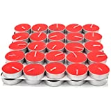 Apollo Wax Tea Light Candle (Red), Set Of 50, 3 To 3.5Hours Burn Time)