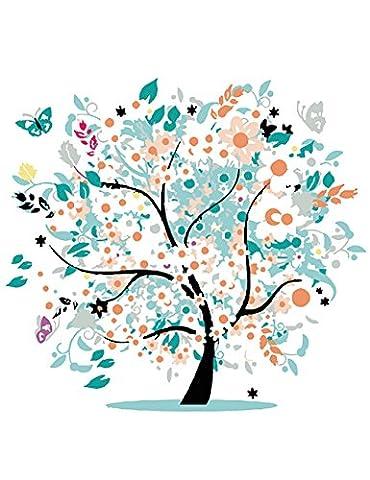 OBELLA Malen nach Zahlen Kits    10 15 bunt Tree of Life 10 von 15 Bunter Baum des Lebens 50 x 40 cm    Malen nach Zahlen, DIGITAL Ölgemälde (Mit Rahmen)
