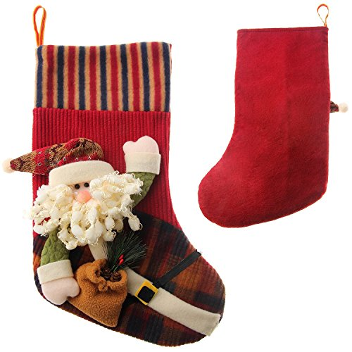 "Christmas Stockings,Pupow 16"" Long 3d Push Happy Santa Snowman Christmas Deer Personalized Christmas Stockings for Christmas Decoration Home Decration (Santa(16""x9.8""))"