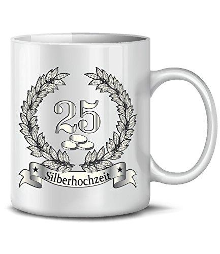 love-all-my-shirts Hochzeitstag Silberhochzeit 25 Jahre Ehe 946 Fun Tasse Becher Kaffeetasse Kaffeebecher Weiss
