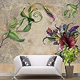 YUANLINGWEI Benutzerdefinierte Wandbild Tapete Europäischen Vintage Floral Pflanze Muster Kunst Wand Wohnzimmer Schlafzimmer Tv Wandbild Tapete,50cm (H) X 70cm (W)