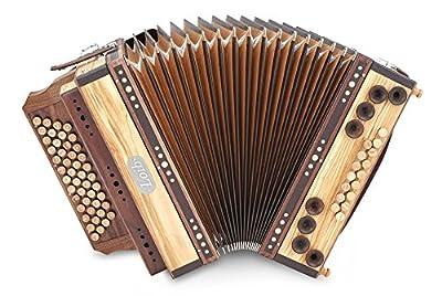 Loib Harmonika IVD Olive G-C-F-B (46 Diskant, 9 Helikon Bässe, Leder, Holz) Natur