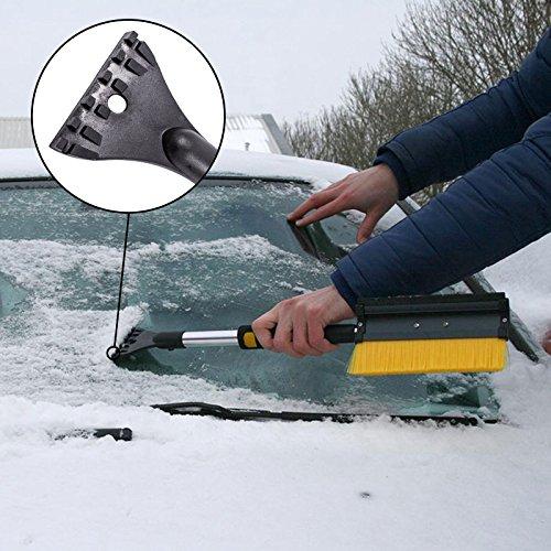 MATCC Spazzola da Neve Telescopica 4 in 1 Pala da Neve Smontabile Spazzola da Neve con Tergipavimento e Raschietto per Ghiaccio Staccabile per Auto SUV per Camion Parabrezza e Finestra di Vetro 114cm