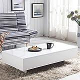 GOLDFAN Table Basse Blanc Brillant Panneaux de Particules, Table Basse Rectangulaire en Bois Multifonctions pour Salon Mobilier de Bureau, Design Moderne, Blanc (115 x 55 x 31cm)