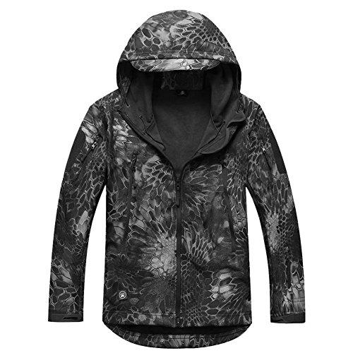 Camo-jacke (Reebow Gear Militaer Taktische Softshell Jacke outdoor Fleece Kapuzenjacke Typhon Schwarz Camo)