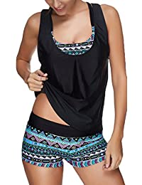 TDOLAH Women Tribal Printed Tankini Set Soft Elastic Swimsuits with Boyshort Three Piece Bikini