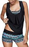 EUDOLAH Damen Sport Yoga Fitness 3-Teilig Tankini mit Shorts Strand Bikini Set mit Top (S (EU 34-36), Türkis)