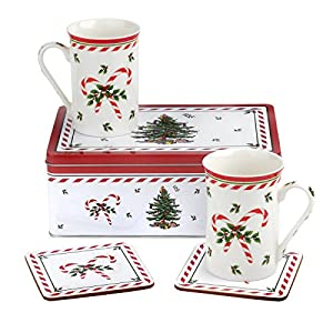 Spode 5 Piece Beautiful Christmas Mug And Coaster Tin Set