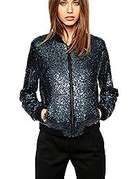 Veste manteau femme sequin