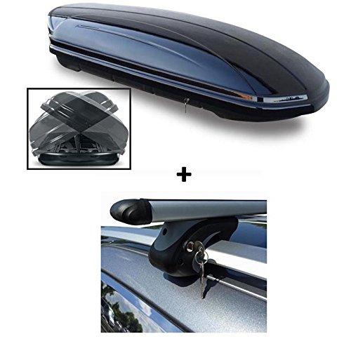 Dachbox schwarz VDP-MAA580 DUO großer Dachkoffer abschließbar + Alu-Relingträger Dachgepäckträger für Citroen C5 Break (Kombi) RE 01-04 90kg