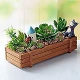 Pflanzkasten, Holz Holz Garten Bett, für Innen-/Außenbereich Rechteck Aufbewahrungsbox aus Holz natur Pflanzgefäß Übertopf Topf Sukkulente Flower Fensterbank, 22,5 x 8,4 x 4,1 cm, 1 Stück