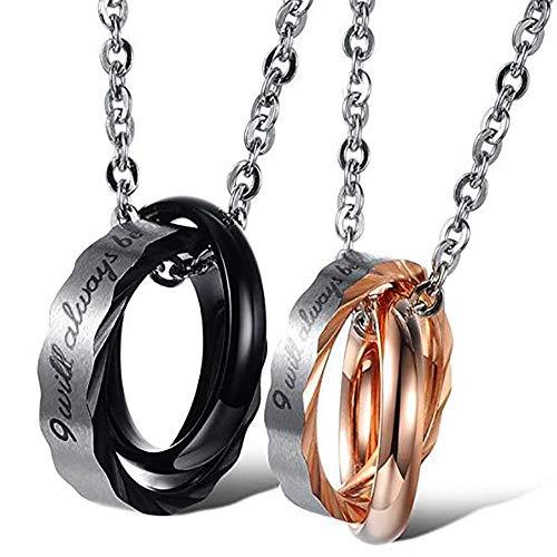 1 Paar passende Halsketten aus Edelstahl, mit