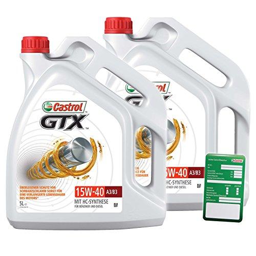 2x 5 L = 10 Liter Castrol GTX 15W-40 A3/B3 Motor-Öl inkl. Ölwechsel-Anhänger
