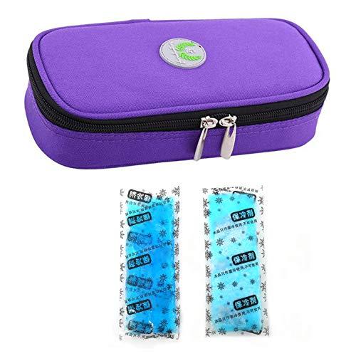 51jRbyW0hHL - Bolso portátil del refrigerador del organizador de la insulina, bolso del refrigerador del viaje de la caja del protector médico con paquete de hielo para el diabético (Púrpura + 2 Bolsas de hielo)