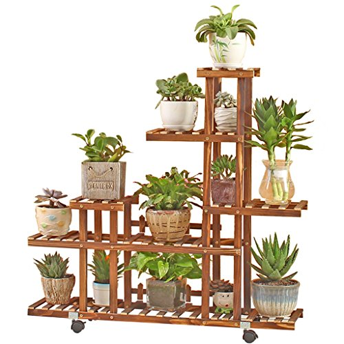 Chengxin Shop-Im Freien Pflanzenständer / 6 Tier-Kiefern-hölzernes Blumen-Gestell / verkohltes Korrosions-Landungs-mehrschichtiges Leiter-Regal-Topf-Gestell-Stand-Blumen-Anzeigen-Regal für Balkon-Wohnzimmer-Innengarten-Blumen-Stand im Freien ( Farbe : C ) (Regal-stand-anzeigen)