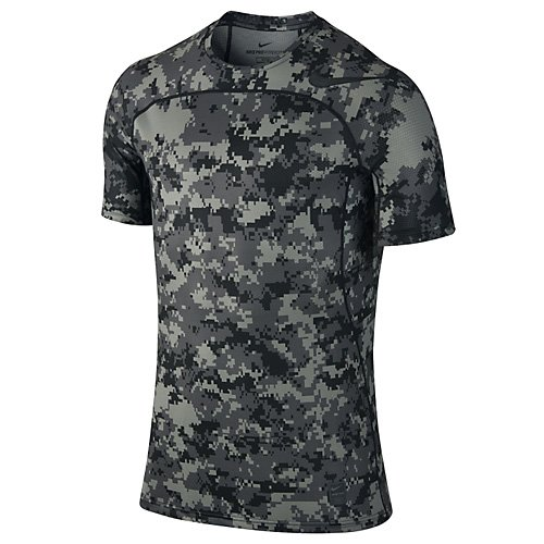 NIKE Herren M NP Hypercool Top SS Fttd D Camo Kurzarmshirt, Tumbled Grau/Schwarz, XL (Kurzarm Grau T-shirt Camo)