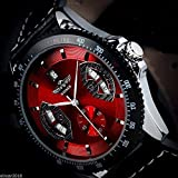 Amyove Winner Mens Sport Red Black Leather Date Automatic Mechanical Army Wrist Watch - Best Reviews Guide
