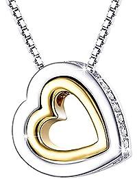 Mondaynoon Collar Mujer Corazón Colgante Joyería Con Cristal Moda Chapado Oro Te Amo por Siempre Regalo de San Valentín Novia