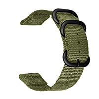Bclaer72 Universal Nylon  Watch Straps with Stainless Steel Buckle Adjustable Replacement Band for 18-22mm Sports Watch Band(22mm,Green)