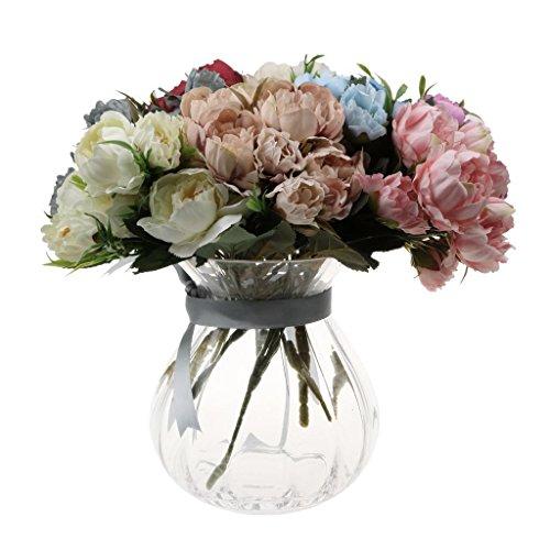 ELECTROPRIME 1 Bunch Artificial Silk Flower Peony Wedding Garden Home Bangquet Deco Beige