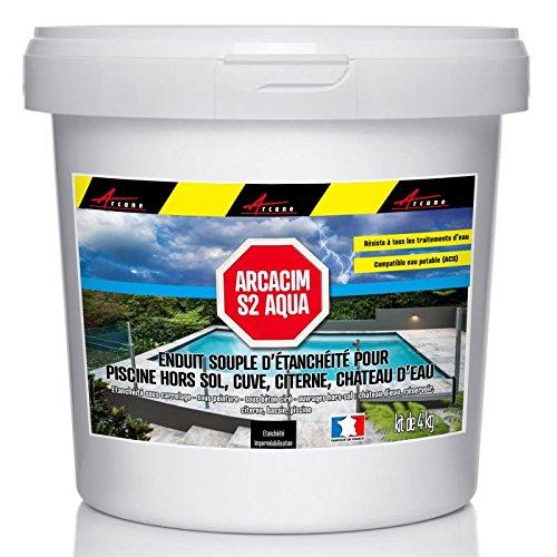 enduit d'étanchéité souple pour PISCINE HORS SOL, CUVE, CITERNE, CHATEAU D'EAU (ACS) - ARCACIM S2 AQUA - gris marron (proche RAL 7013), 4 kg