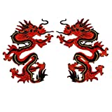 ximkee 1Paar Rot Chinesischer Drache Totem bestickt Applikationen Sew Iron on Patches