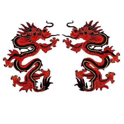 Ximkee 1par rojo chino Dragon Totem bordado Appliques