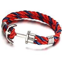 Vnox Acciaio inossidabile corda di nylon 2 strati nautico vichingo Anchor Bracciale Rosso Blu,21 centimetri