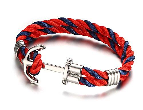 Vnox Cuerda de nylon de acero inoxidable 2 capas vikingo náutico brazalete de pun o rojo azul,21 cm