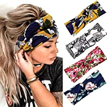 Fashband Boho Headbands Criss Cross Hair Bands Elastic Stretchy Twist Head Wraps Yoga Outdoor Head Scarfs Headpiece for Women Girls Pack of 4 (Printing 3)