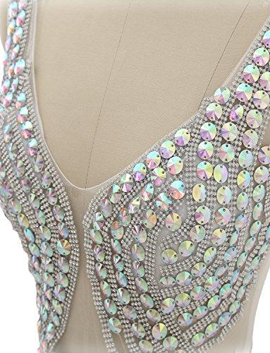 Izanoy Damen Lange Tüll Perlen VBA-Fenster Ballkleid V-Ausschnitt Formale Kleider Abendkleider Weiß