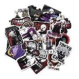 KroY PecoeD Anime Tokyo Ghoul Cartoon Sticker PVC Skateboard Guitar Travel Case Sticker Laptop Luggage Car Stickers Ken Kaneki Renji Yomo Kuki Urie Ginshi Decal( 52 Pcs)