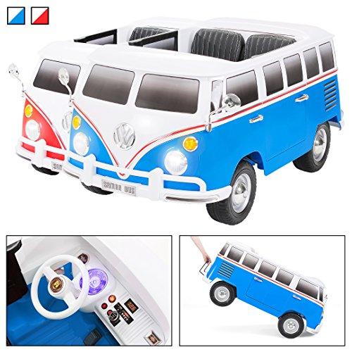 Kinder Elektroauto VW Bus Bulli T1 Samba Camper Kinderauto Elektro Auto lizenziert 35 Watt Motoren 2 Personen in vielen Farben (Weiß/Blau)