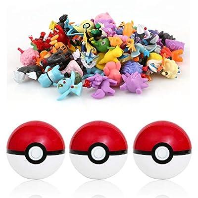 sqzkzc-Set de 3 Poké Balls Rouges et 48 Mini Figures Pokémon aléatoires - Set Cadeau pour Fans de Pokémon Ensemble Boules Pokémon en Rouge et Blanc et Figurines de Hauteur Entre 1 et 3 cm