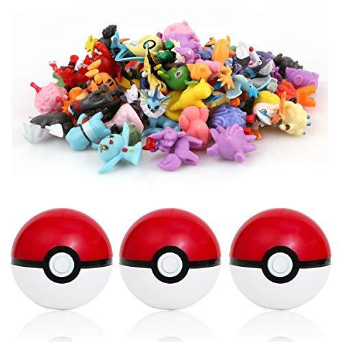sqzkzc-48 Pokémon Figuras de colección aleatorias + 3 Poké Bolas Po