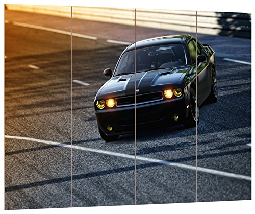 pixxprint-hbvs-1662-80x60-prachtige-dodge-challenger-mdf-holzbild-im-bretterlook-wanddekoration-bunt